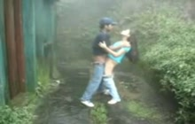 Indian couple fucking while standing in the rain