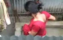 Desi Girl Bathing Outdoors